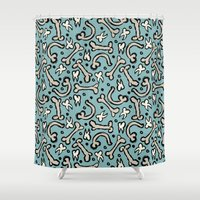 bones Shower Curtains featuring Bones by Elly Whiley