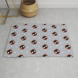 Cute Cat with red Cirlce Pattern Rug
