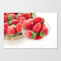 strawberry Canvas Prints featuring strawberry by yumehana design fine art photography
