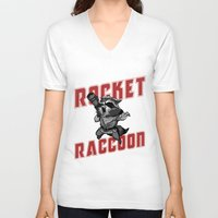rocket raccoon V-neck T-shirts featuring The Raccoon by Twinky Wood
