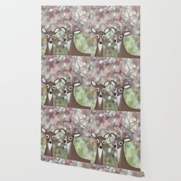 white tailed deer, warbling vireos, & cherry blossoms Wallpaper
