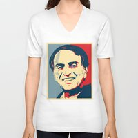 sagan V-neck T-shirts featuring Carl Sagan 'Hope' by cvrcak