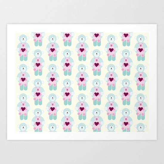 Hearts and bears Art Print