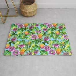 Passiflora vines light blue Rug