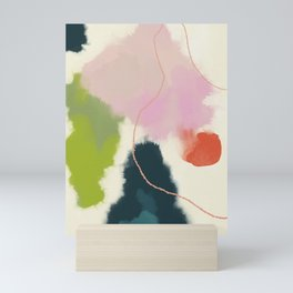 sky abstract with pink & green clouds Mini Art Print
