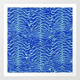 Blue Glitter Tiger Print Art Print