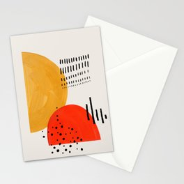 Rock & Hard Place Yellow & Orange Mid Century Modern Colorful Minimalist Shapes Patterns by Ejaaz Ha Stationery Cards
