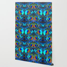 ELECTRIC NEON BLUE BUTTERFLIES & BLUE PEACOCK FEATHERS Wallpaper