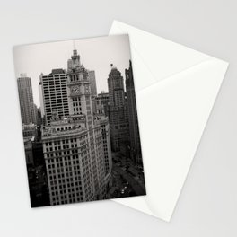 Wrigley Building Chicago Black and White Photo Stationery Cards
