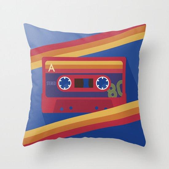 80s Retro Tape Deck Throw Pillow