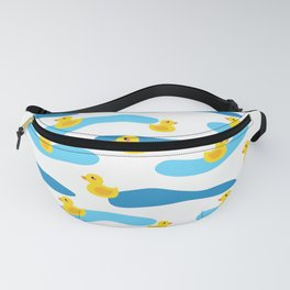 Yellow Rubber Duck with Blue Waves Seamless Pattern Fanny Pack