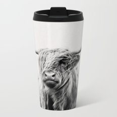 portrait of a highland cow Metal Travel Mug