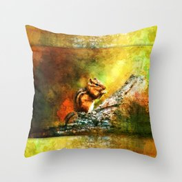 Forest Jewel Chipmunk Throw Pillow