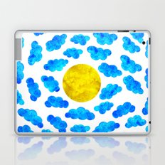Cute blue cartoon clouds and sun. Laptop & iPad Skin