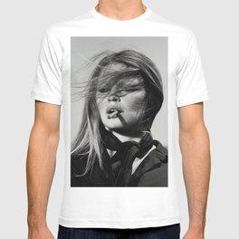 Brigitte Bardot Smoking a Cigarette, Black and White Photograph T-shirt