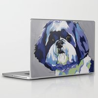 shih tzu Laptop & iPad Skins featuring Shih Tzu Pop Art Pet Portrait by Karren Garces Pet Art