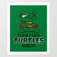 Fighting Turtles Art Print