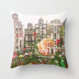 Flowers in Amsterdam Throw Pillow