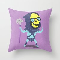skeletor Throw Pillows featuring Skeletor by Rod Perich