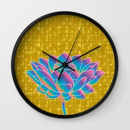 Lotus Holly Flower on Gold-leaf Screen Wall Clock