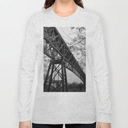 Eiffel. The mystery train bridge. BW Long Sleeve T-shirt