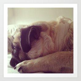 sleepy pug Art Print
