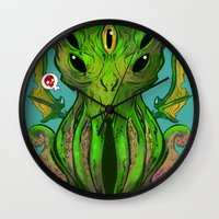 cthulu Wall Clocks featuring Cthulhu by Tyler Lederer