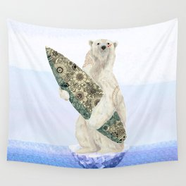 Polar bear & Surf (black) Wall Tapestry