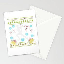 Runner Christmas Ugly Sweater Trail Runner 5k 13.1 Run Stationery Cards