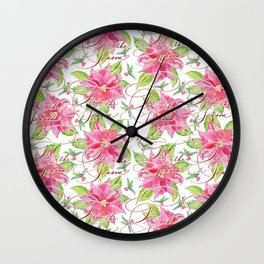 'Tis the Season for Poinsettias and Mistletoes in White Background Wall Clock