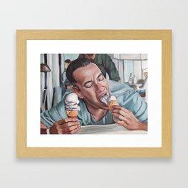 Forrest Gump eats Ice Cream Framed Art Print