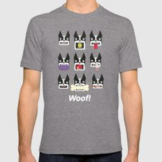 Boston Terrier - WOOF! Tri-Grey Mens Fitted Tee SMALL