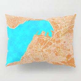 Izmir, Turkey, Gold, Blue, City, Map Pillow Sham