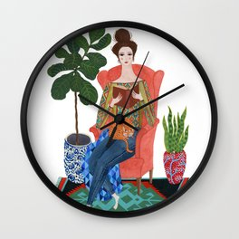 Cat lady reading Wall Clock