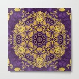mandala 7 yellow purple #mandala Metal Print