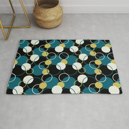 Off White, Dark Yellow and Tropical Dark Teal Inspired by Sherwin Williams 2020 Trending Color Oceanside SW6496 Solid Color Circles and Rings Pattern 2 Rug