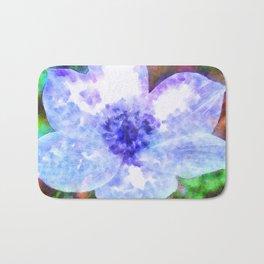 Blue Anemone Watercolor Bath Mat