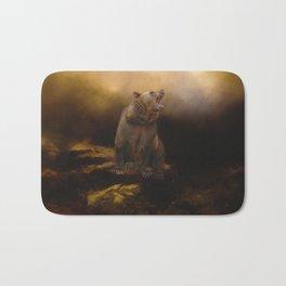 Roaring grizzly bear Bath Mat