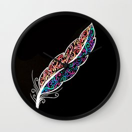 Colourful Feather Wall Clock