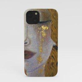 Freya's Tears - Starry Night (Golden Tears) portrait painting by Gustav Klimt iPhone Case