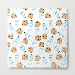 Milk and cookies pattern white cute kids decor boys or girls room design Metal Print