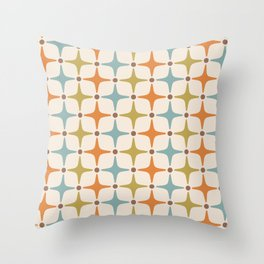 Mid Century Modern Star Pattern 817 Orange Brown Blue and Olive Green Throw Pillow