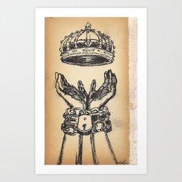 hands chains crown Art Print