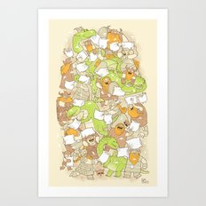 Vikings vs Dragons Art Print