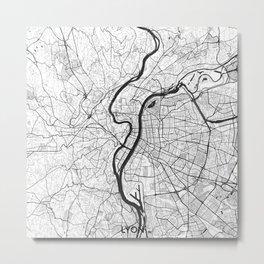 Lyon Map Gray Metal Print