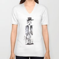 chaplin V-neck T-shirts featuring CHAPLIN by Halley's Coma