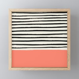 Coral x Stripes Framed Mini Art Print