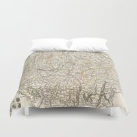 switzerland Duvet Covers featuring Vintage Map of Switzerland (1771) by BravuraMedia