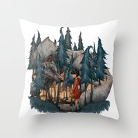 red riding hood Throw Pillows featuring Little Red Riding Hood by Anne Lambelet