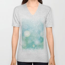 Blue Snowflakes Blur Lights Snowing Modern Winter Pattern Unisex V-Neck